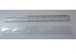 RULER, 20 cm, double graduation, transparent plastic