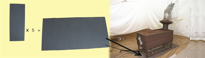 Tent floor protection for stove