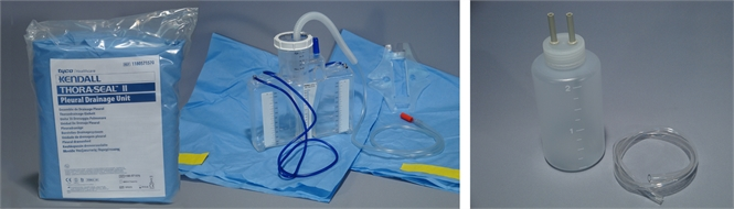 Chest drainage bottle (underwater seal) and tubing sets