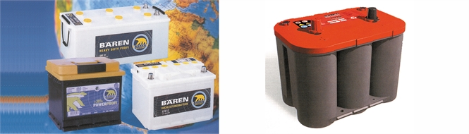 Batteries, 12 V, for cars and trucks