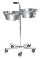 Bowl-stand, 2 bowls 5l, H 86 cm, 5 castors