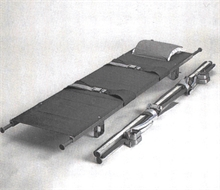 Stretcher, foldable in width