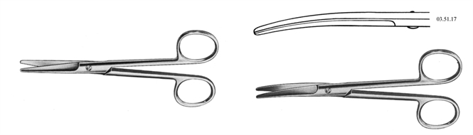 Scissors, basic dissecting, straight/curved, blunt, Mayo