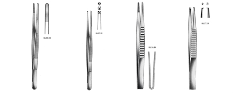 Forceps, dressing, standard, serrated, toothed