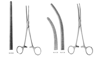 Forceps, hemostatic, straight/curved, serrated, Rochester-Pean