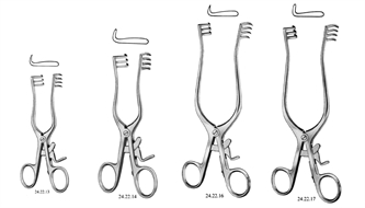 Retractor, self-retaining, superficial surgery, sharp/blunt, Weitlaner