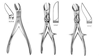 Forceps, bone cutter, double hinge, Ruskin-Liston, Liston-Stille