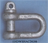 SHACKLE, D, iron galva., diam. 20 mm, straight