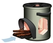 Stove, improved, solid fuel, for cooking