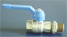 "VALVE, BRASS, BALL 1/2"", threa. fem/fem + nipple, 1/4 turn"