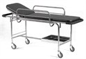 Stretcher, carrier, with movable side rail, on wheels